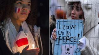 A French vigil attendee and a climate change marcher