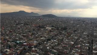 A view of Nezahualcóyotl from a police helicopter