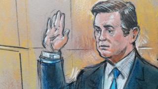 Манафорт в суде (рисунок)