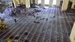 A view of the damage at Mohammad Al-Amin Mosque