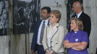 Nicola Sturgeon and the Very Rev Lorna Hood at a Srebrenica memorial
