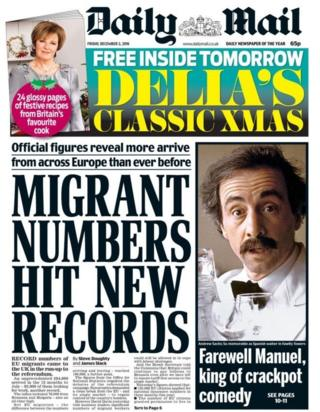 """Migrant numbers hit new records"" is the Daily Mail's lead headline this Friday, next to a tribute to actor Andrew Sachs which reads ""Farewell Manuel, king of crackpot comedy"""