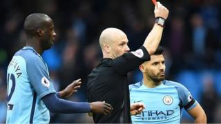 Sergio Aguero receives red card