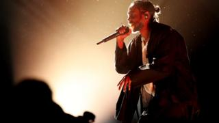 Kendrick Lamar on stage at Grammys