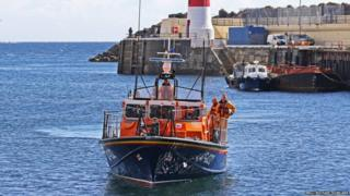 Douglas lifeboat Sir William Hillary returning to station