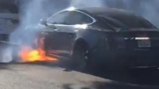 Michael Morris' Tesla on fire in Los Angeles