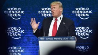 Президент Трамп выступает в Давосе