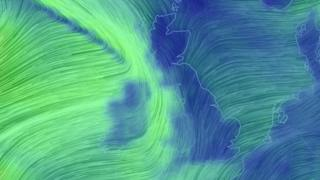 An illustration of expected high winds