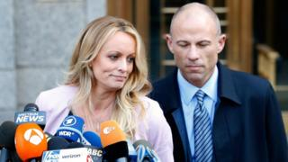 Stormy Daniels, left, and Michael Avenatti