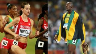 Molly Huddle composite with Usain Bolt