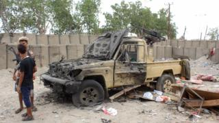 Aftermath of twin suicide bomb attack on security facility in Aden on 6 July 2016