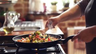 Pan cooking on gas hob