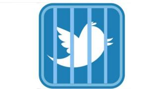 Users circulating an image showing the twitter logo behind bars