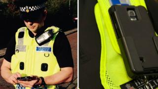 A Gwent Police officer and the new mobile device