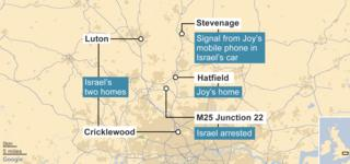 Map of area where Joy disappeared