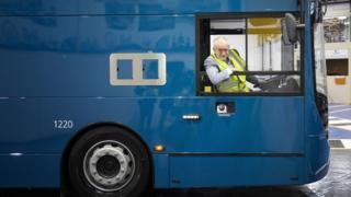 Jeremy Corbyn on a bus