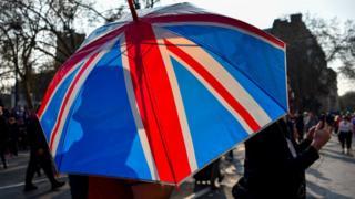 ingiltere bayrağı renklerinde şemsiye