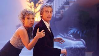 Alex Kingston as River Song and Doctor Who played by Peter Capaldi