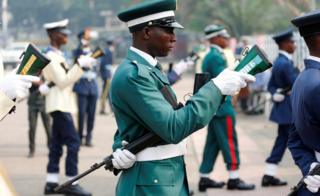 A Nigerian soldier holding an upside rifle during an Army Remembrance Day parade in Lagos, Nigeria - Sunday 15 January 2017