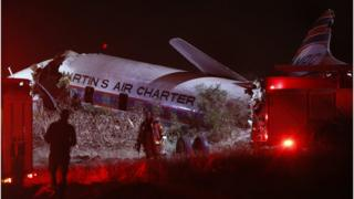 The crashed plane pictured in Wonderboom, on the outskirts of Pretoria, South Africa