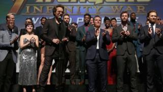 Stars of Avengers: Infinity War appearing on stage before its premiere