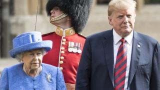 The Queen and Donald Trump on his last visit to the UK