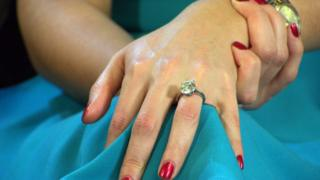 Picture shows Katherine Jenkins' engagement ring