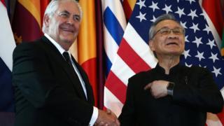 รัฐมนตรีต่างประเทศสหรัฐฯ และไทย ถ่ายเมื่อวันที่ 8 ส.ค.2017