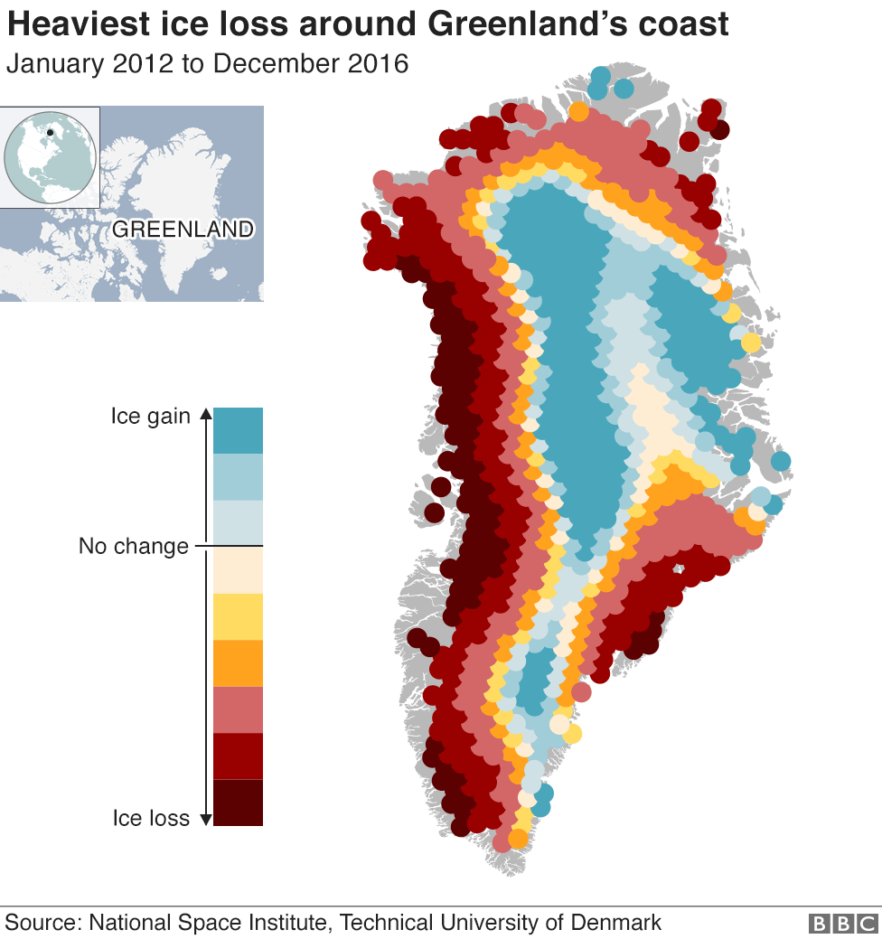 Map showing hat the heaviest losses of ice have been from around Greenland's coast