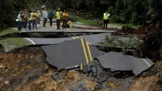 highway that connects with the south of the country and collapsed by Storm Nate in Casa Mata, Costa Rica