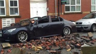 Storm Barney debris in Leigh
