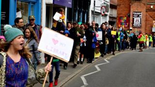 Library closure protest in Manningtree