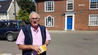 Richard Blair outside Montague House, Southwold