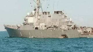 Picture of USS John S McCain, tweeted by the Malaysian navy chief