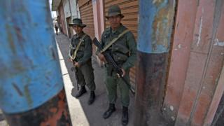 Venezuelan troops in Tumeremo, south-eastern Venezuela, 10 March 2016
