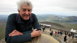 Rhodri Morgan reaches the summit of Snowdon to open the new £8.4m visitor centre and cafe on June 12, 2009