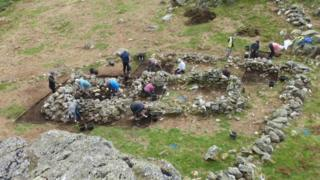 Archaeological dig at Seathwaite in the Duddon Valley, Cumbria
