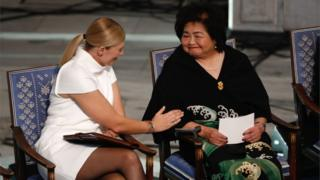 Beatrice Fihn (left), leader of Ican, talks with Hiroshima nuclear bombing survivor Setsuko Thurlow at the city hall in Oslo, Norway, during the award ceremony of the 2017 Nobel Peace Prize, 10 December 2017