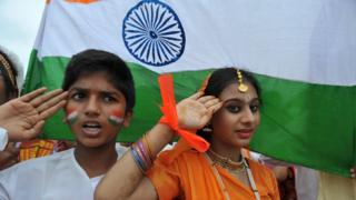 Indian children sing national anthem