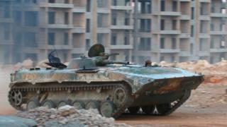 Halep'de İslamcı bir militanın kullandığı tank
