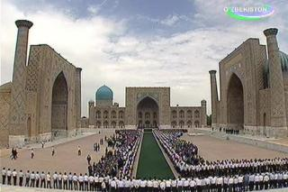 Screengrab from Uzbek state TV, showing the funeral of Islam Karimov