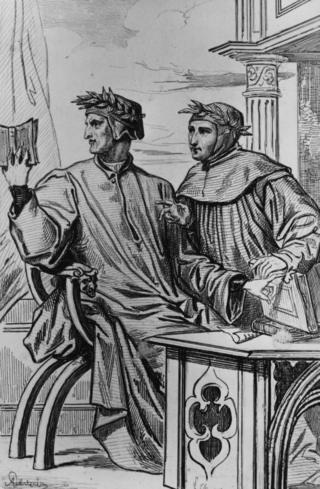Dante Alighieri (1265-1321), pujangga Italian penulis Divinia Commedia pada lukisan sekitar 1286 ini.