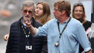 Steven Spielberg (left) and executive producer Adam Somner (right) on the set of Ready Player One in the Jewellery Quarter, Birmingham, on Tuesday 6 September