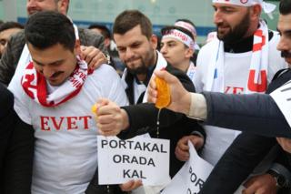 Youth wing protestors of the ruling Justice and Development Party (AK Parti) protested against the Netherlands by squeezing oranges and drinking the juice in the north-western province of Koaceli on March 12