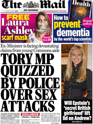 Mail on Sunday front page 2 August