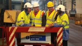 Carwyn Jones visits the Tata steel plant at Trostre, Llanelli