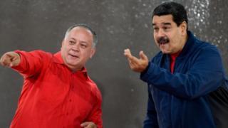 El diputado Diosdado Cabello y el presidente Maduro.