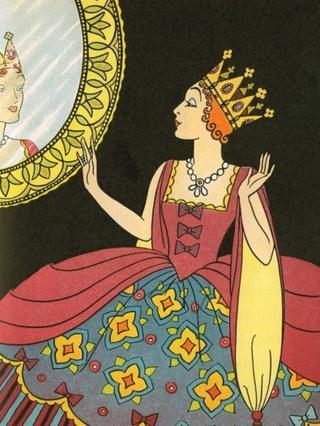 Ilustração antiga retratando a madrasta da Branca de Neve diante do espelho