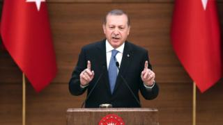 "Turkey""s President Recep Tayyip Erdogan delivers a speech during the mukhtars meeting at the Presidential Complex in Ankara on April 19, 2016."