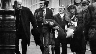 A victim of Bloody Sunday was taken to the streets of Derry